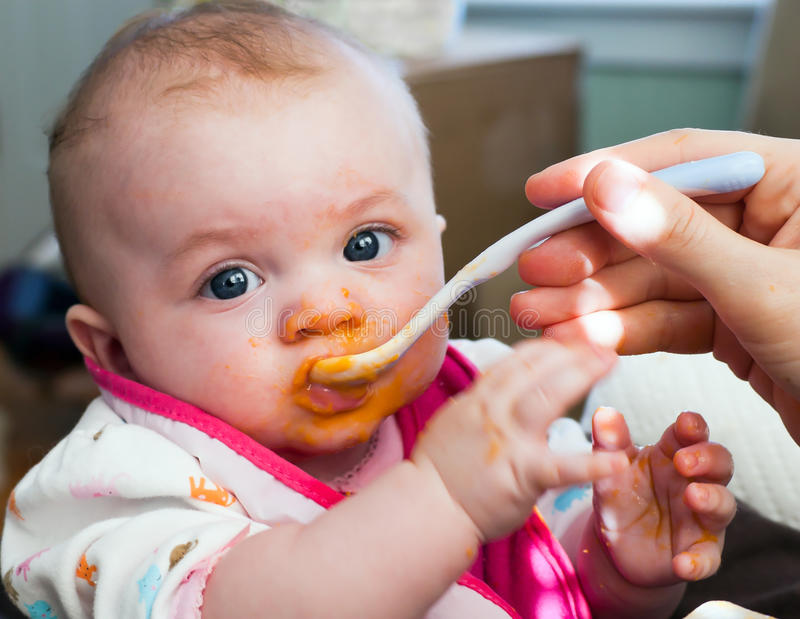 Baby Food Introduction. Four month old infant girl enjoying baby food sweet potatoes royalty free stock images