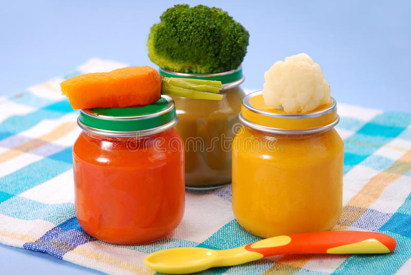 Baby food in jars royalty free stock image