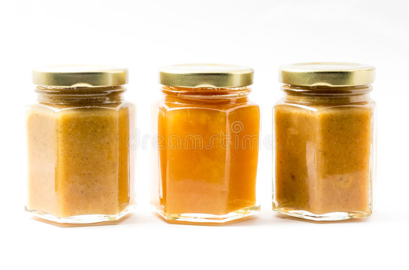Baby Food in jars on white background, brandless stock images