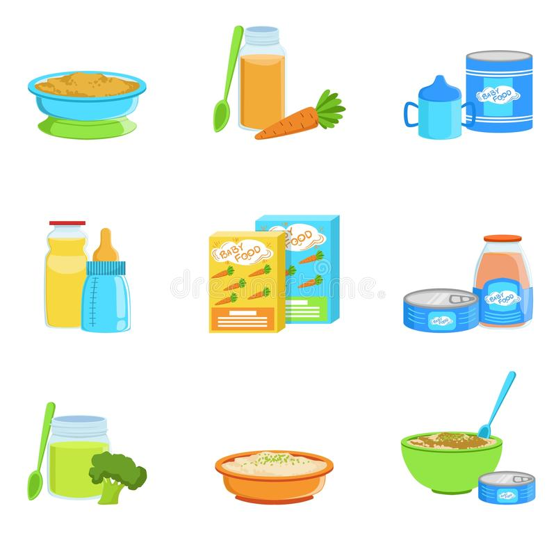 Baby Food And Products Set Of Icons vector illustration
