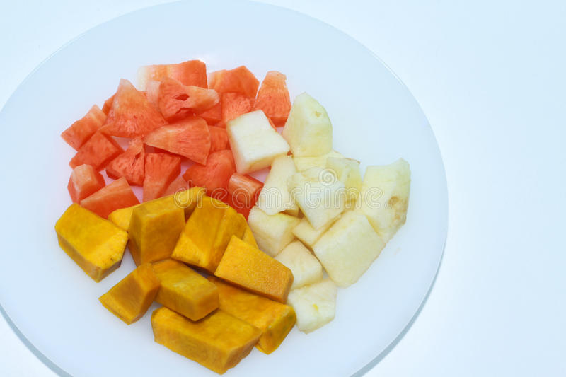 Baby food. Pumpkin , carrots, fresh apples cut into pieces stock photography