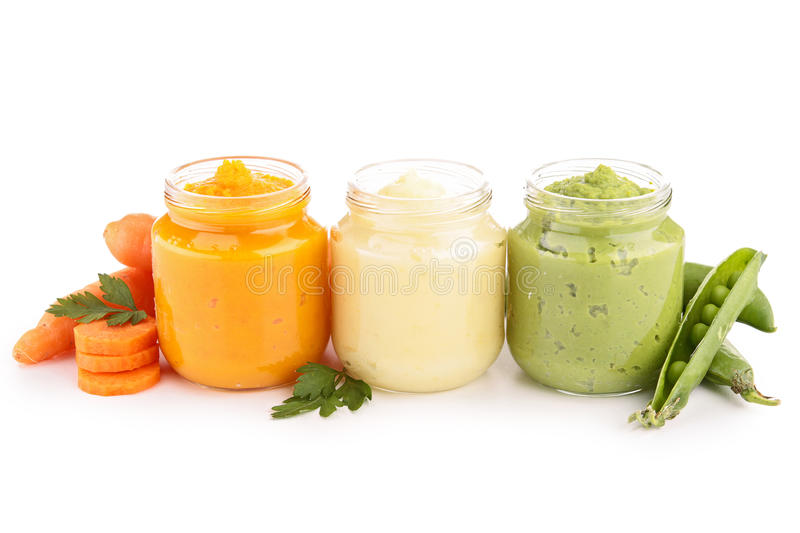 Baby food, puree. Isolated on white royalty free stock photography