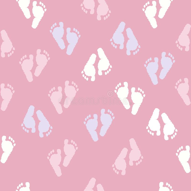 Baby foot prints baby shower seamless pink background pattern vector illustration