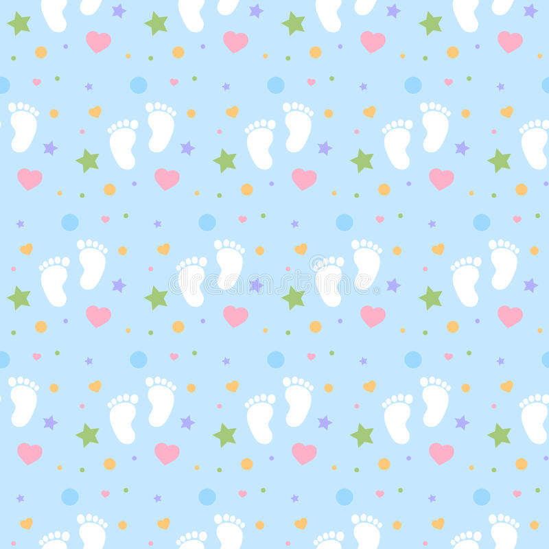 seamless baby footprints background and pattern vector illustration stock illustration