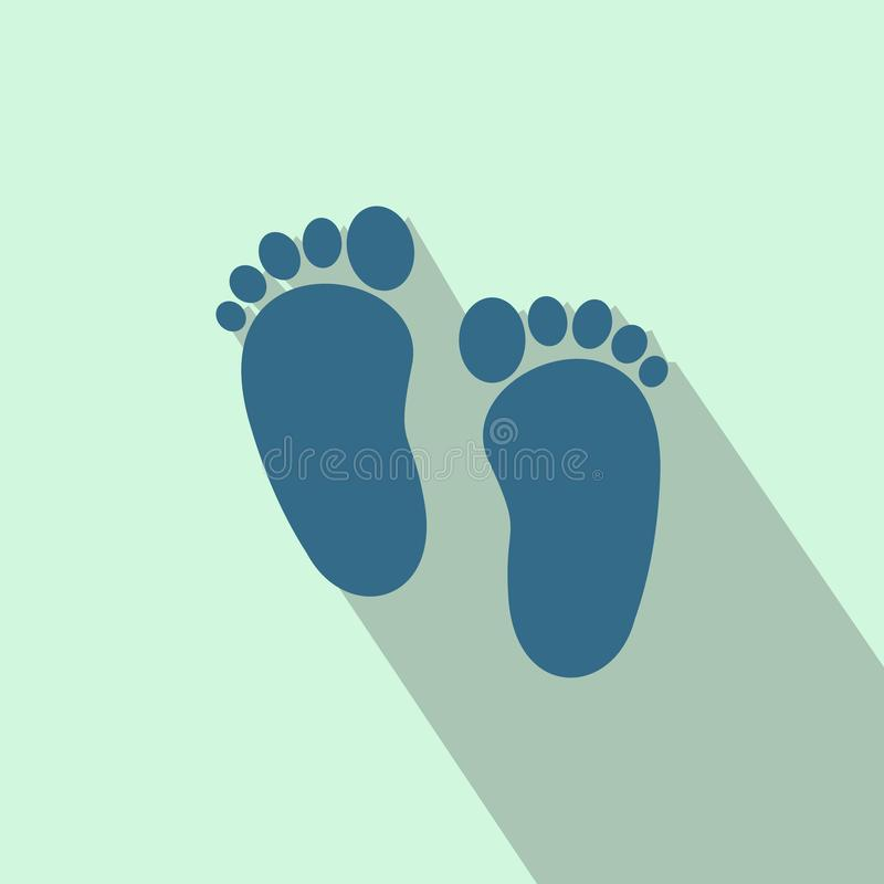 Baby footprints flat icon stock illustration