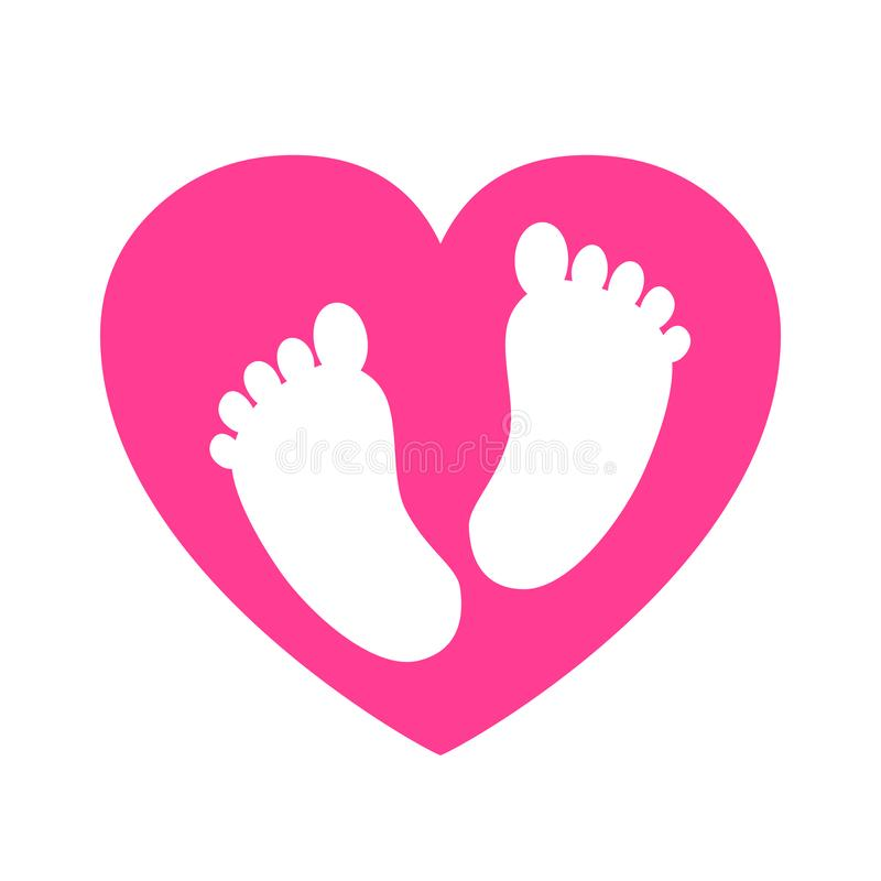 Baby footprints in heart icon - royalty free illustration