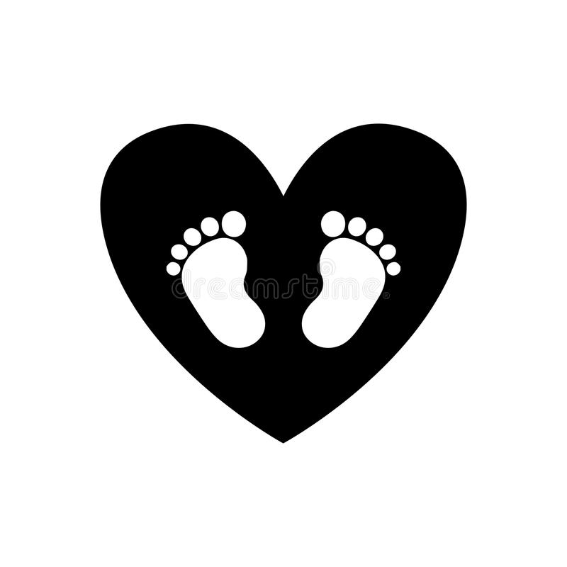 Baby footprints inside of black heart icon isolated on white. Background. Black and white vector illustration, logo, icon royalty free illustration