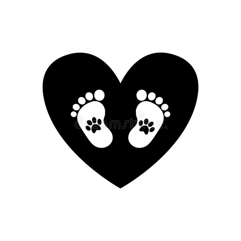 Baby Footprints Inside Of Black Heart Icon Isolated On White