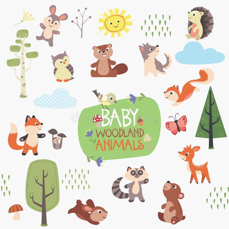 Baby Forest Animals Design Set stock illustration