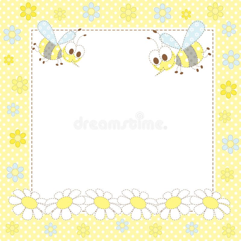 Baby Frame With Bees And Flowers Stock Images