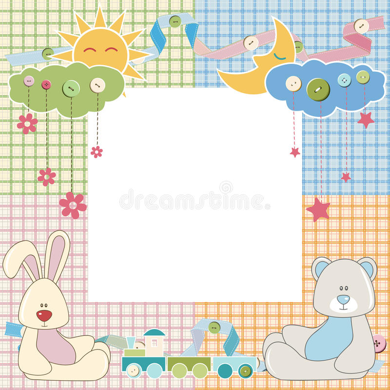 Baby frame or card with rabbit and bear. Vector royalty free illustration