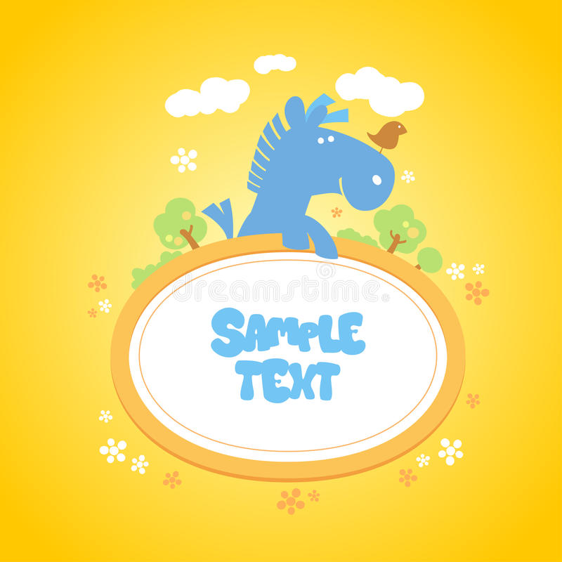 Baby frame with funny horse. Baby frame with funny horse and bird stock illustration
