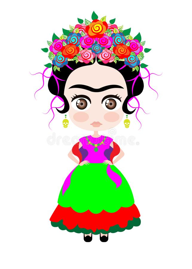 Baby Frida Kahlo with crown of colorful flowers, Kokeshi doll style, cartoon doll in typical ethnic Mexican clothes for children, vector illustration
