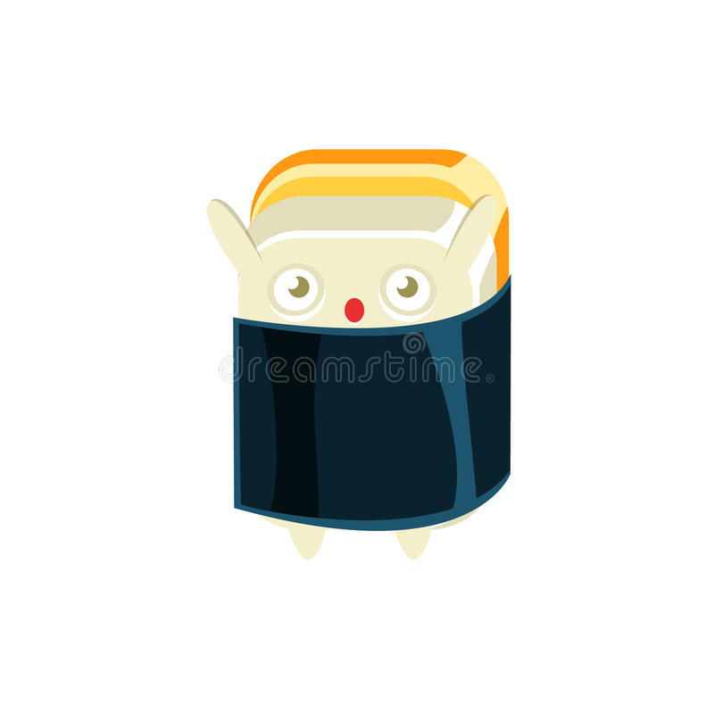 Baby Funny Maki Sushi Character Wrapped In Sea Weed. Silly Childish Drawing Isolated On White Background. Funny Creature Colorful Vector Sticker royalty free illustration