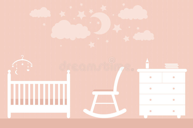 Baby furniture. Vector children's furniture on a pink background stock illustration