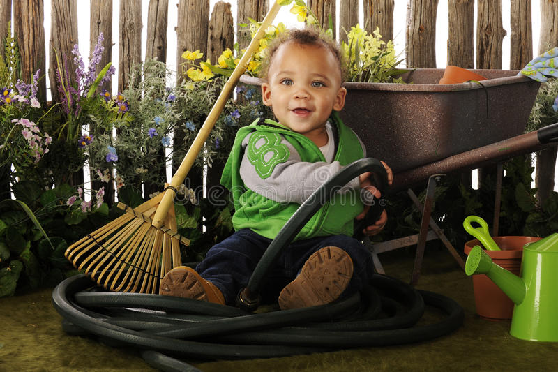 Download Baby in the Garden stock image. Image of hose, play, weathered - 19086643