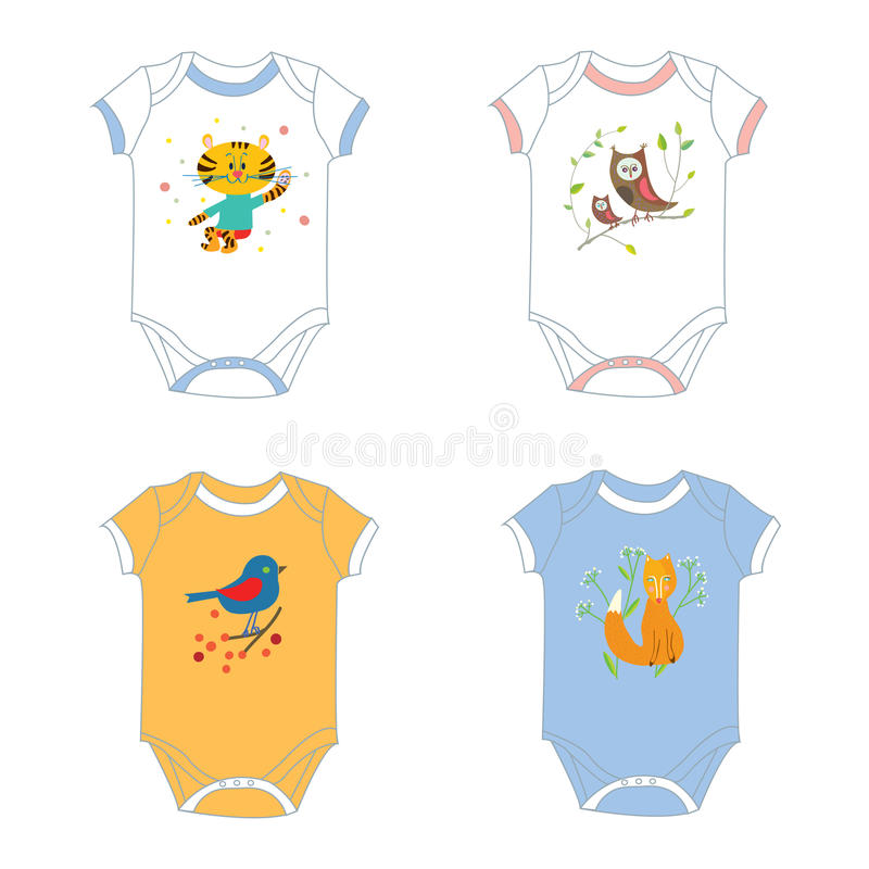 Free Baby Garments T-shirts With Animals Print Stock Images - 63731344