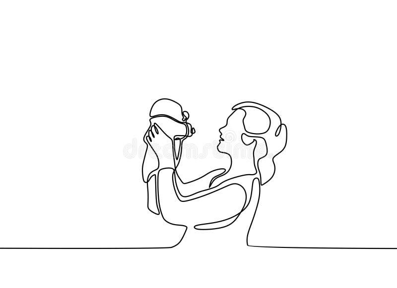 baby geboren lijntekening minimalistisch van moeder en haar zoon stock illustratie