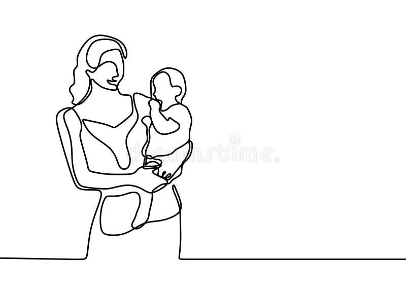 baby geboren lijntekening minimalistisch van moeder en haar zoon vector illustratie