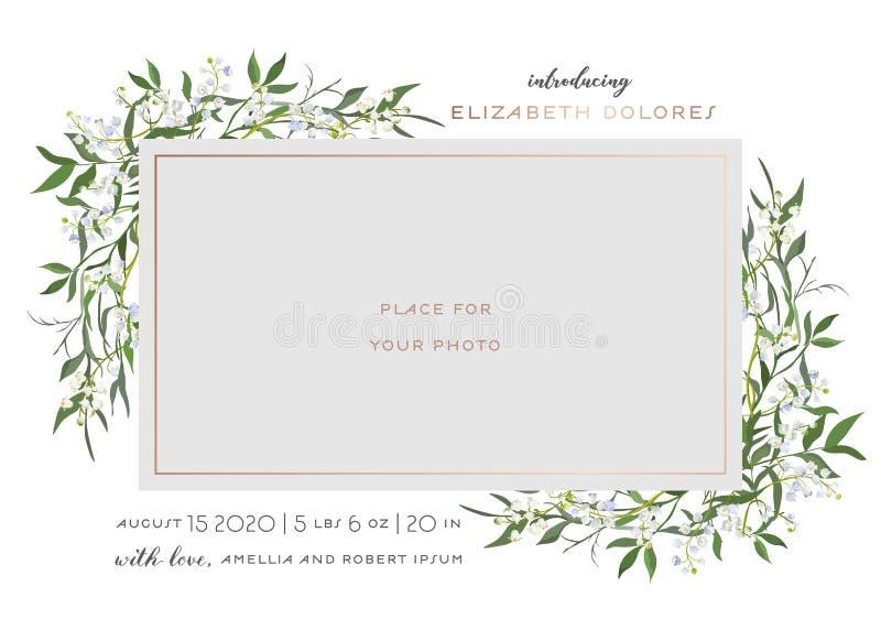 Baby-geborene Gru?-Karte mit Florenelementen Babyparty-Schablonen-Foto-Rahmen mit Lily Flowers Neugeborenes Kind, Hochzeit stock abbildung