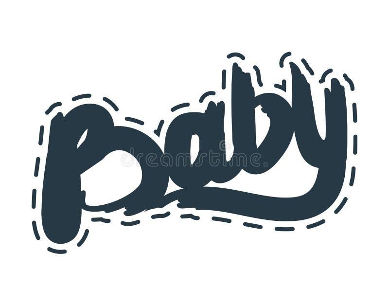 Baby Gegrenste die Tekst op Witte Achtergrond wordt geïsoleerd stock illustratie