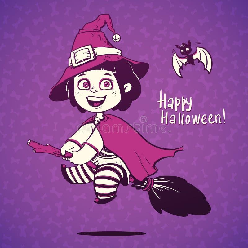Baby gekleidet in einem Halloween-Hexen-Kostüm stock abbildung