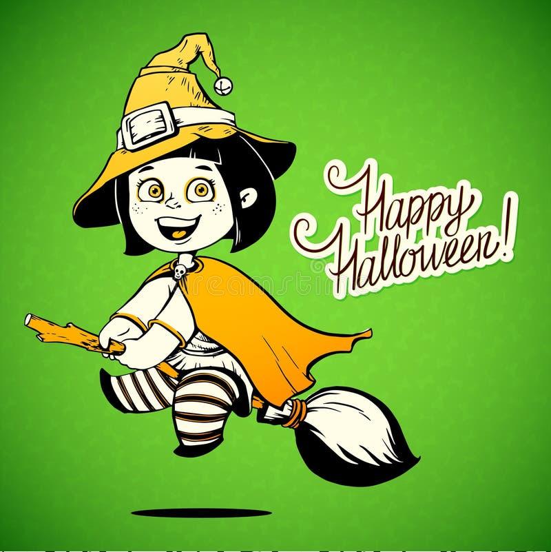 Baby gekleidet in einem Halloween-Hexen-Kostüm trick lizenzfreie abbildung