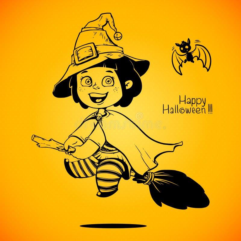 Baby gekleidet in einem Halloween-Hexen-Kostüm trick stock abbildung