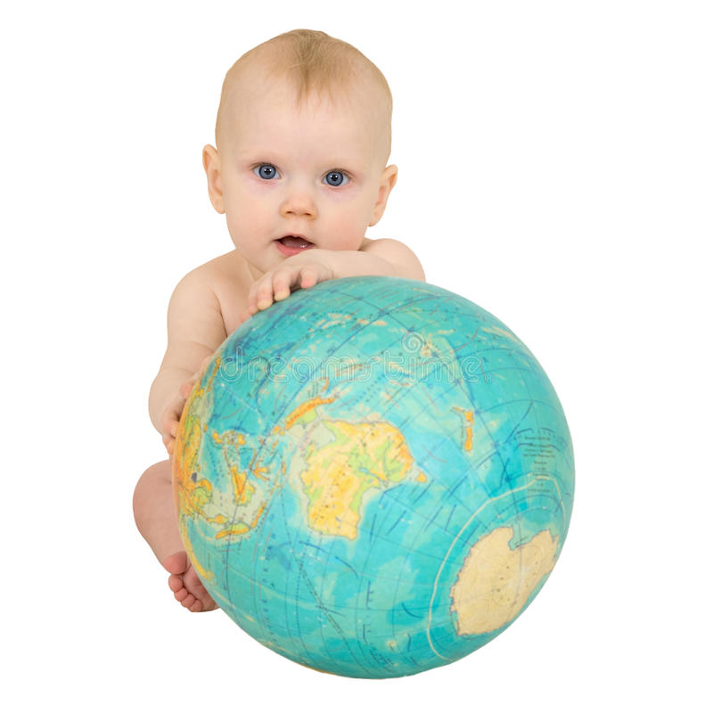 Download Baby With Geographical Globe Isolated On White Stock Image - Image: 10173501