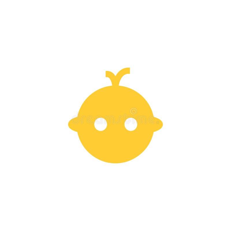Baby-Gesichts-Ikonen-Logo Flaches Design Feste Ikone des Vektors lokalisiert auf weißem Hintergrund lizenzfreie abbildung