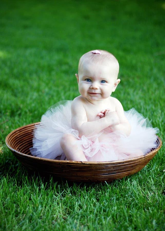 Baby Gezet met Tutu - verticaal royalty-vrije stock afbeeldingen