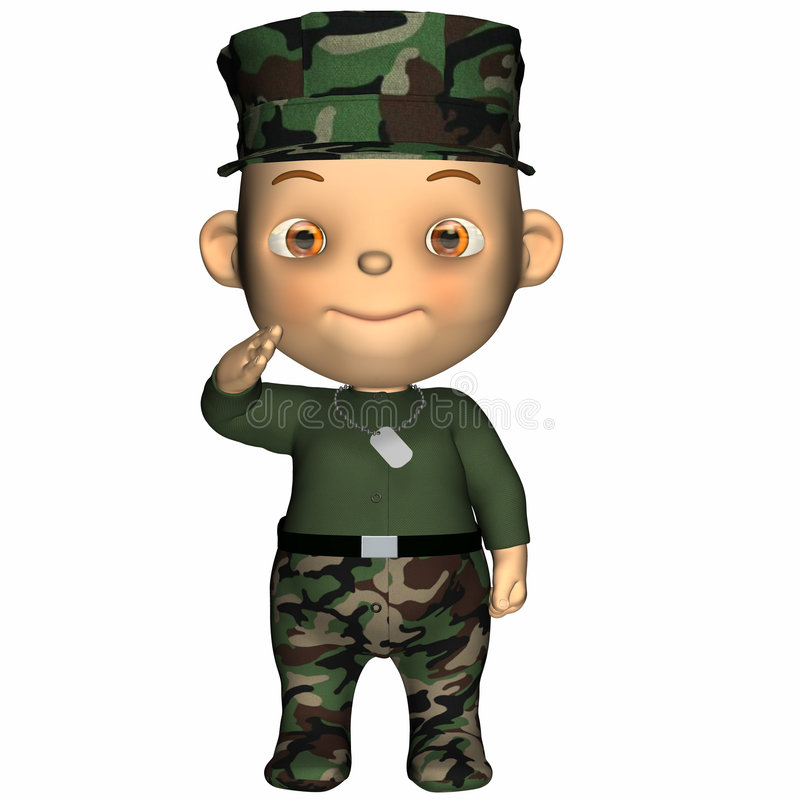 Baby - GI. Cute baby in a military camouflage BDU outfit. Blank dog tag. Isolated on a white background stock illustration
