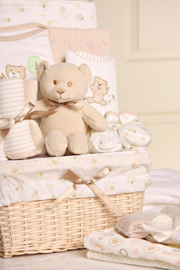 Download Baby gift basket stock photo. Image of bear, apparel - 14269540