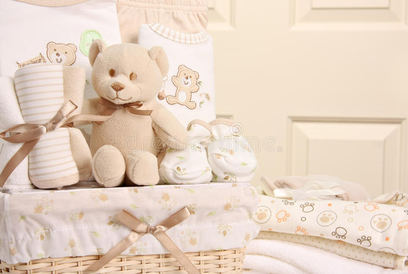 Baby gift basket stock photography