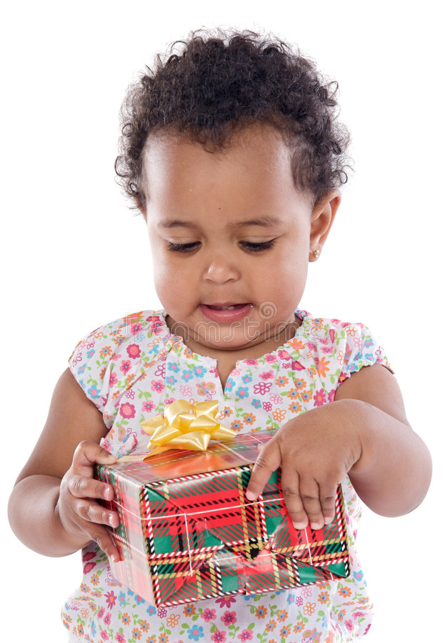Baby with a gift box stock photography