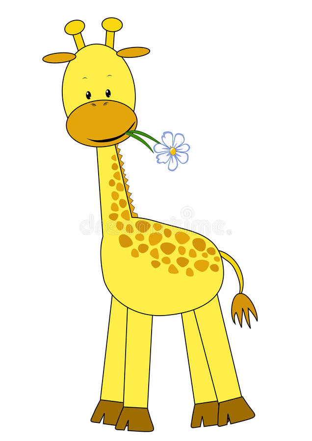 Free Baby Giraffe And Flower. Stock Images - 14936864
