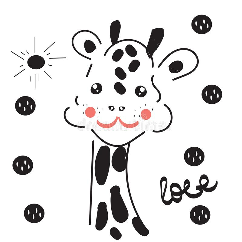 Baby giraffe in cute style, love, kawaii, character vector illustration