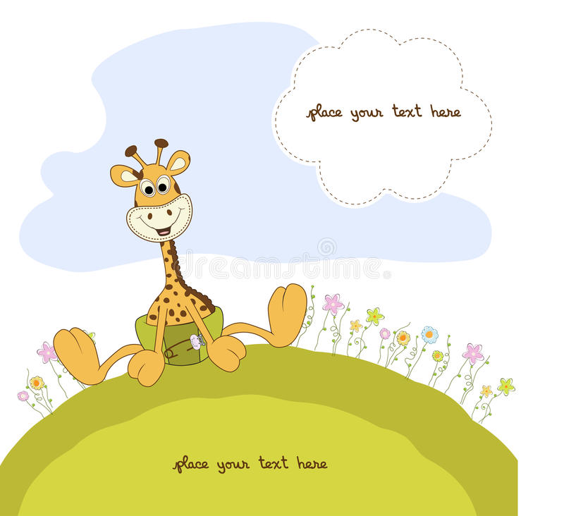 Baby giraffe with flowers. In format stock illustration