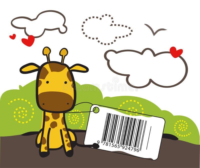 Baby Giraffe. Giraffe toy with a bar code stock illustration