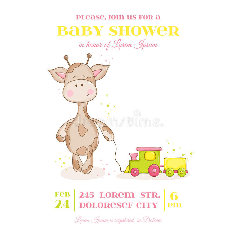 Baby-Giraffen-Duschkarte vektor abbildung