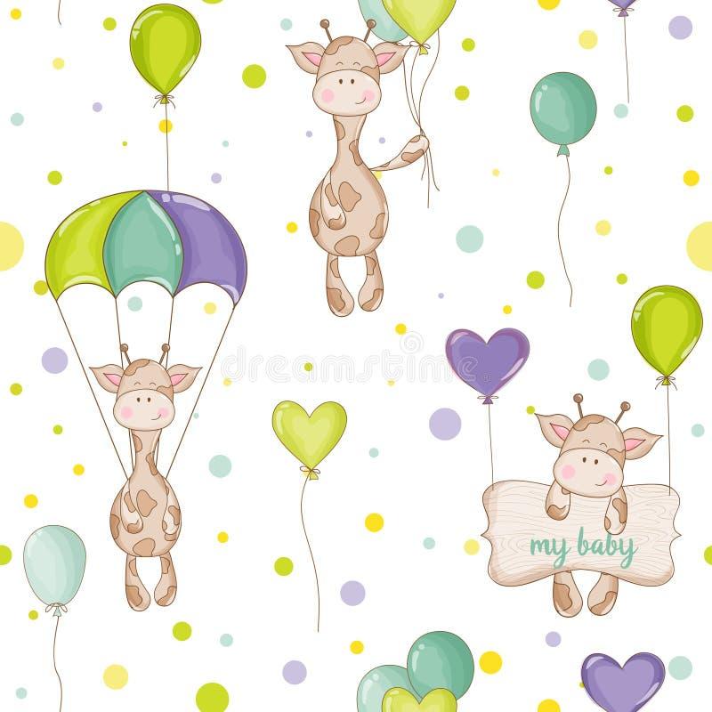 Baby-Giraffen-Hintergrund Nahtloses Muster vektor abbildung