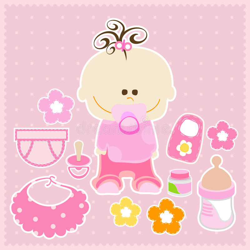 Baby girl. Sweet baby girl in pink stock illustration