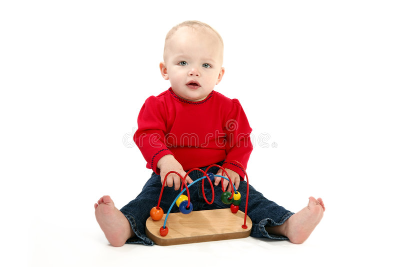 Download Baby Girl stock photo. Image of blue, blonde, full, education - 1941220