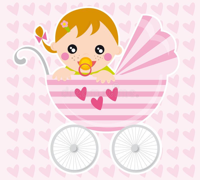 Baby girl. Illustration of baby girl and pram in the background with hearts