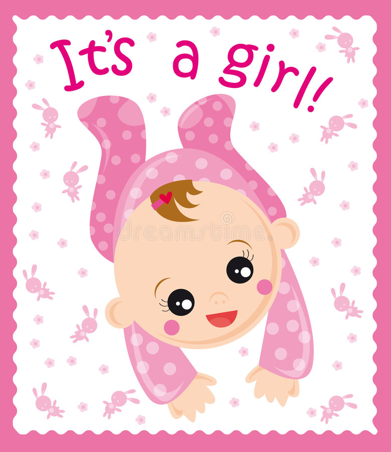 Baby girl. Illustration of baby born girl card royalty free illustration