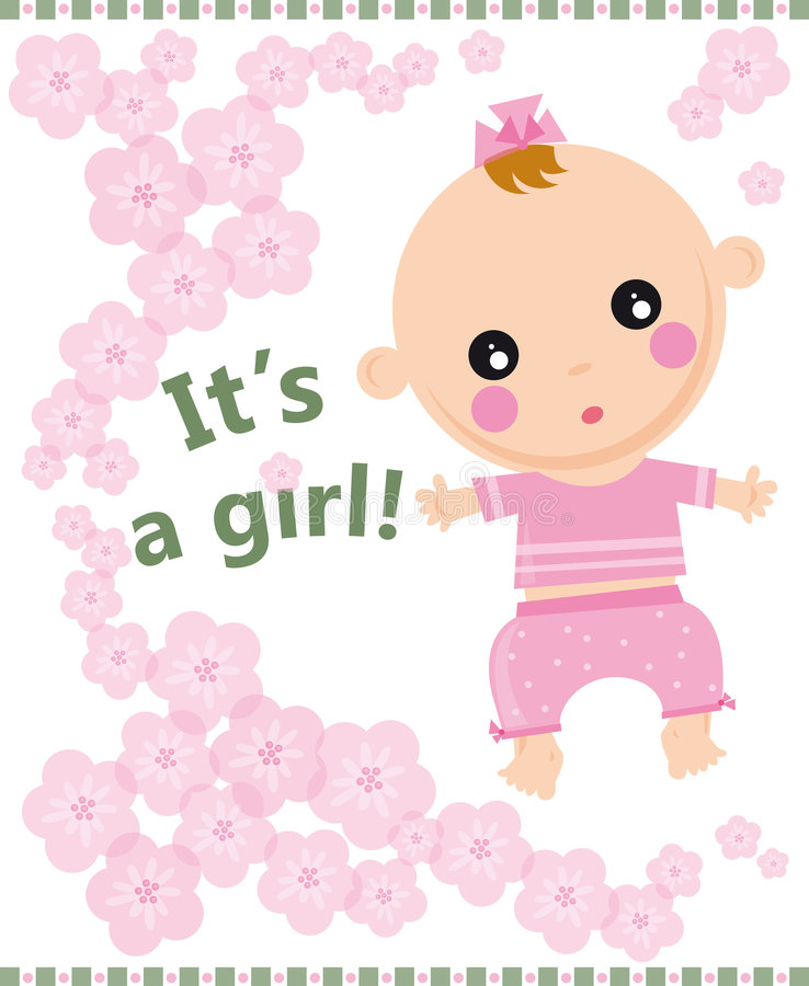 Baby girl. Illustration card of baby girl born with pink flowers royalty free illustration