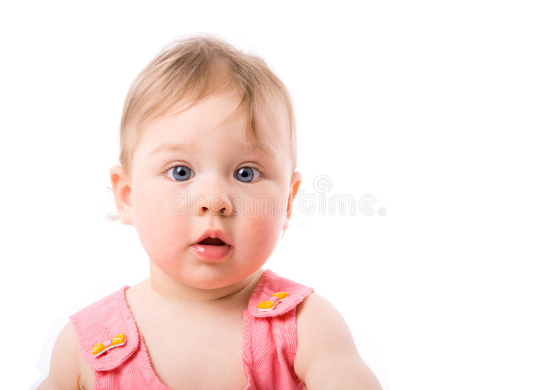 Baby Girl. Curious blue eyed baby isolated stock images