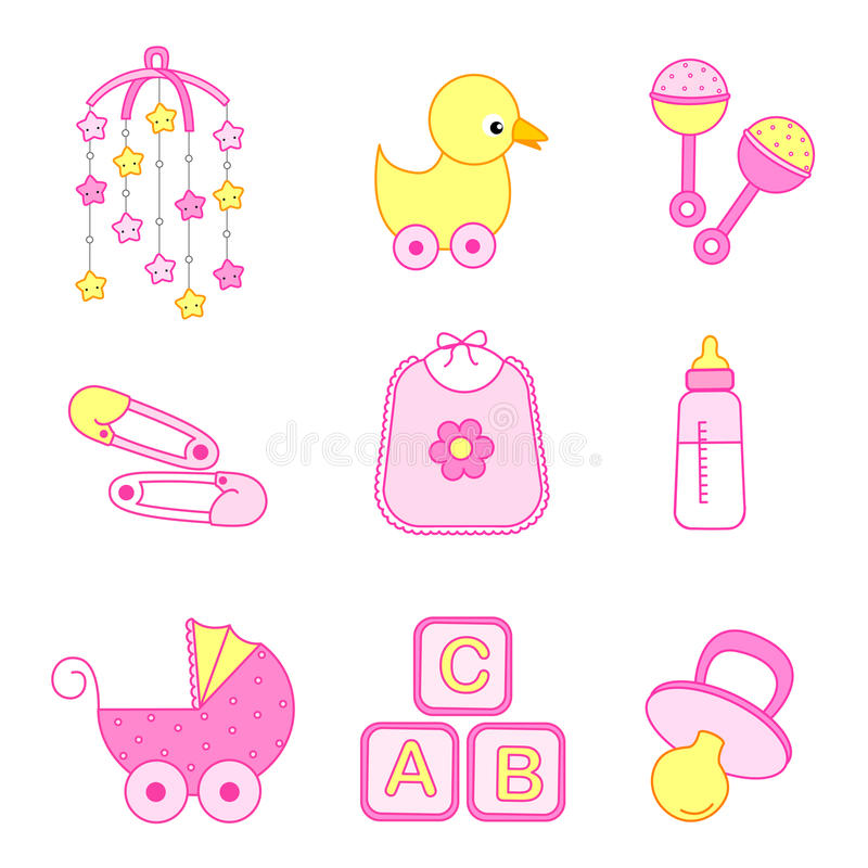 Baby girl accessories stock illustration