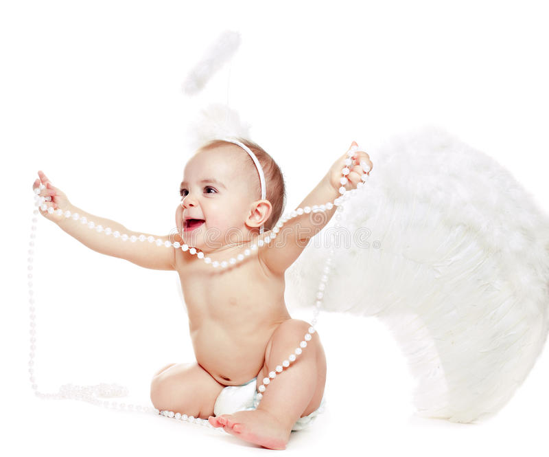 Baby pige i en engel fancy kjole Stockbillede - Billede 17659377-1822