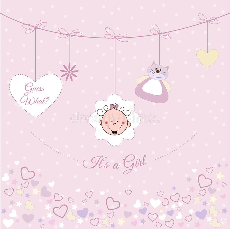 Baby girl announcement royalty free illustration